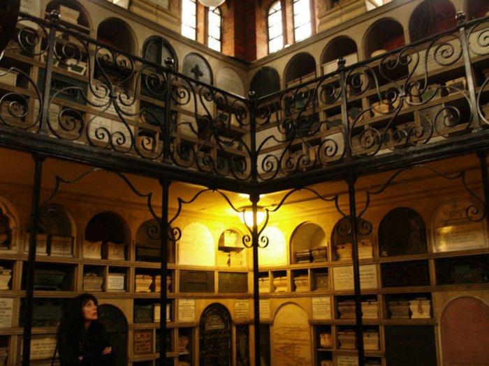 A columbarium set over two levels
