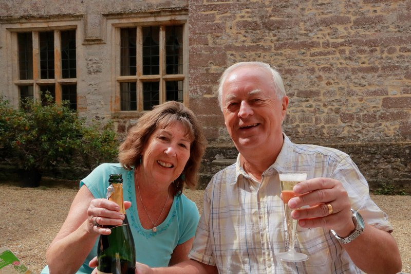 In celebration of Brian's life. Photo of Brian with Liz as we celebrate his birthday at Forde Abbey