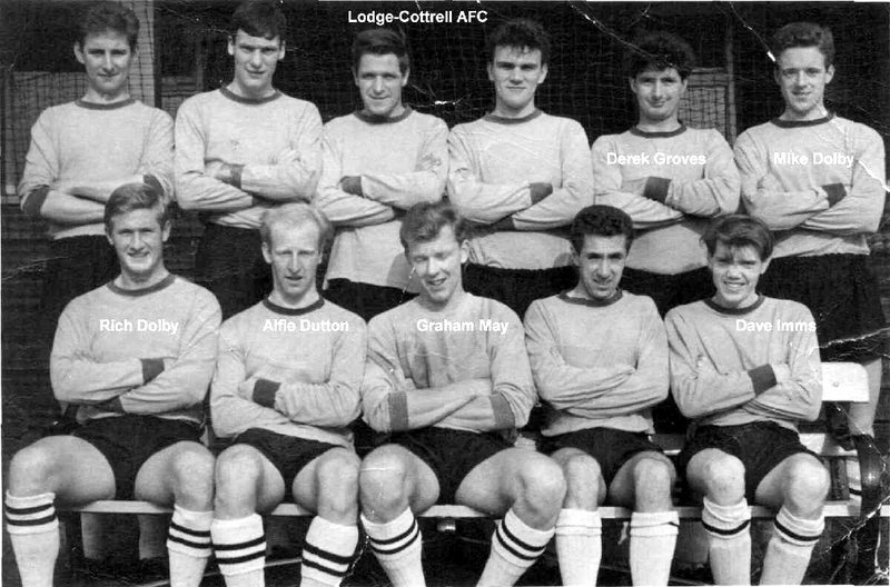 Mike Dolby at top right, Lodge-Cottrell AFC