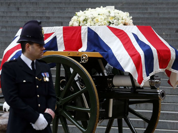A gun carriage bore Margaret Thatcher's coffin to her ceremonial funeral
