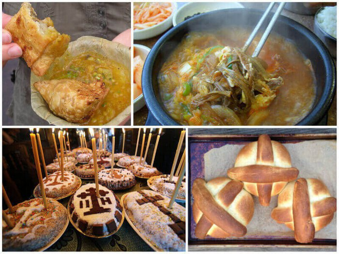 A selection of traditional funeral food from around the world