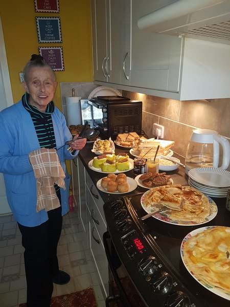 Mam's favourite hobby,cooking and feeding everybody hungry or not. Hope the heavenly banquet is up to your expectations. Love you mam.x