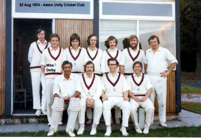 Aston Unity CC, 1974. Mike Dolby top second from left.