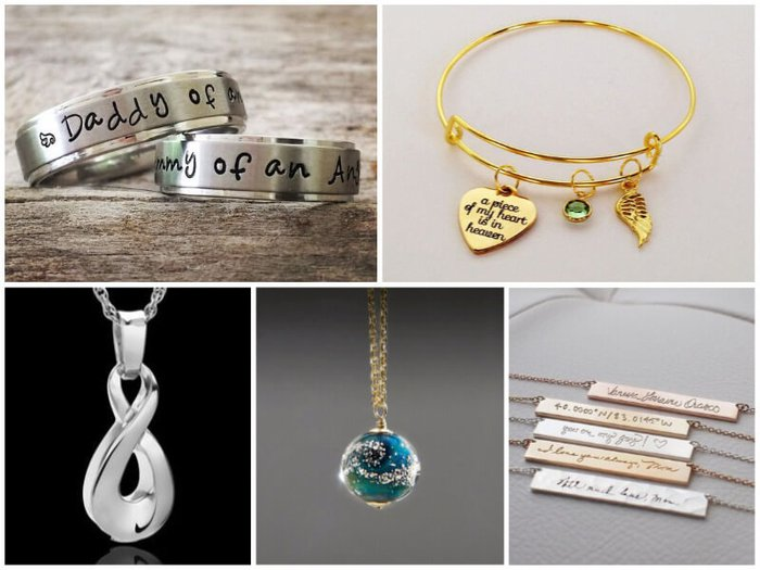 Beautiful memorial jewelry, including pendants for ashes and personalized memorial necklaces