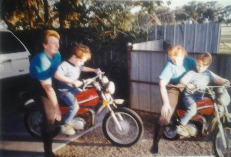 Memories of visit to the farm and Rhys' first time on a motorbike with Great-Auntie Jeanette.