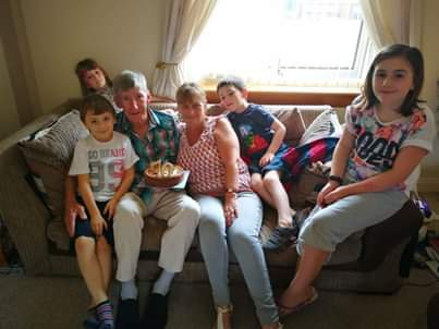 Rab's 70th birthday with our lovely grandchildren