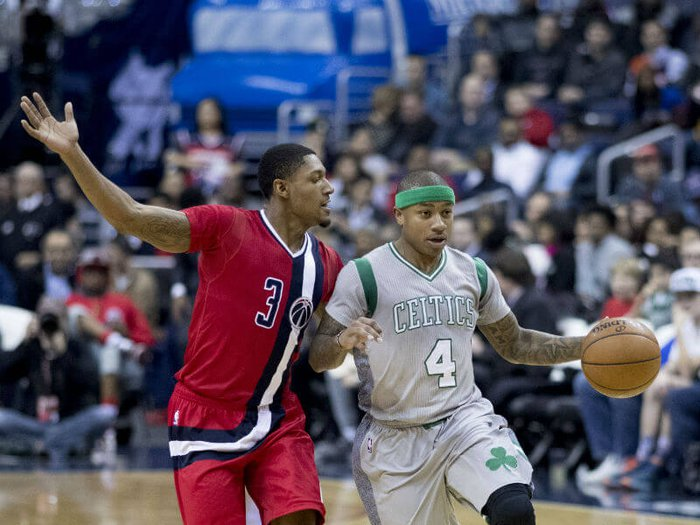 Isaiah Thomas on court playing for Boston Celtics against the Washington Wizards