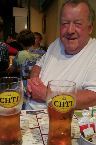 John in June 2014, Le Corners pub in Albert, Somme, France. I remember he slightly mispronounced the name when he ordered the 2nd round!