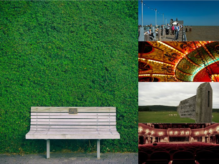 A montage of ways to memorialise a loved one, including a bench, pier, fingerpost, theatre seat and vintage fairground