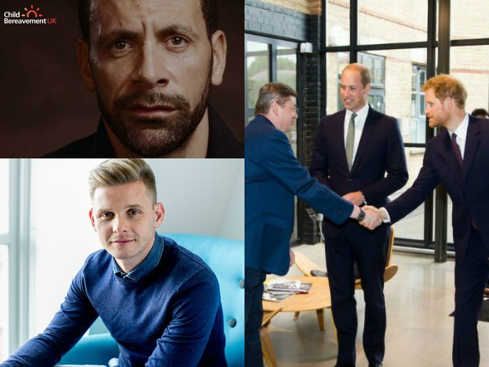 A montage with photos of Rio Ferdinand, Jeff Brazier and Princes William and Harry who all gave their support to bereavement charities during 2017