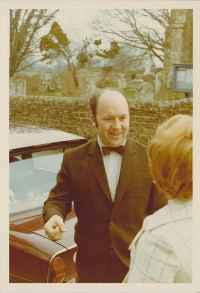 Dad outside St. Margarets Church for my Christening in 1971