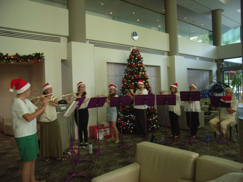 Flutes at Flynn 14 Dec 2017. An annual Christmas tradition started by Cath years ago and always greatly enjoyed by patients & staff.