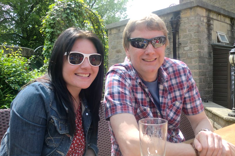Enjoying a beer with my Uncle Dave, in Baslow, celebrating Grandad's 75th Birthday. <3