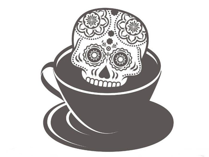 Death Cafe - A sugar skull and coffee cup
