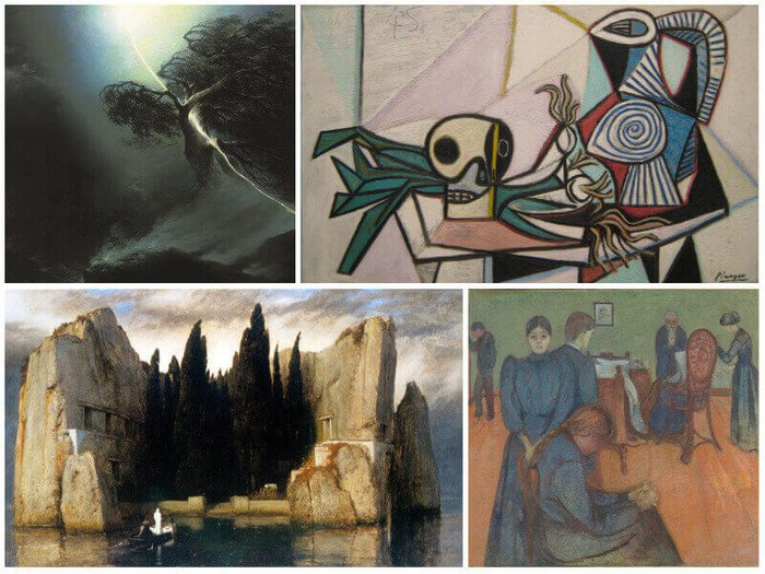 Collage of death art, including works from Vorobiev, Picasso, Munch and Böcklin