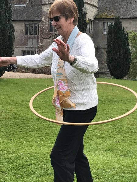 Hula hooping at Baddesley Clinton....had a competition with Noah to see who could do the most......Noah lost! Love you mum & Nanny 2 xx