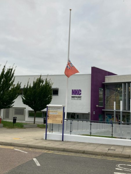 Half mast for Nigel at work today xx