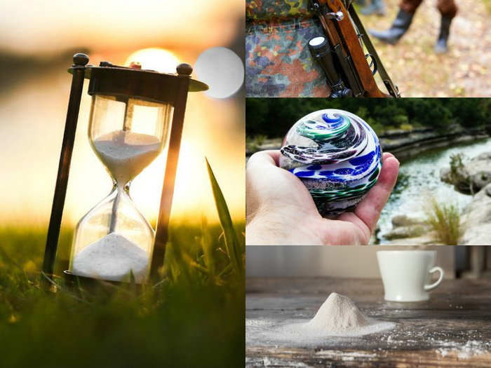 A photo montage featuring ways to memorialize a loved one with keepsakes made from funeral ashes, as described in this story