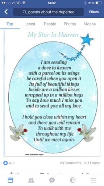 3 years today nan.. Miss you more than ever never does it get easier the longer it is the more I long to see you .. I have a massaive hole in my heart .. Love you forever until we meet again and what a party that will be God bless sleep tight ??