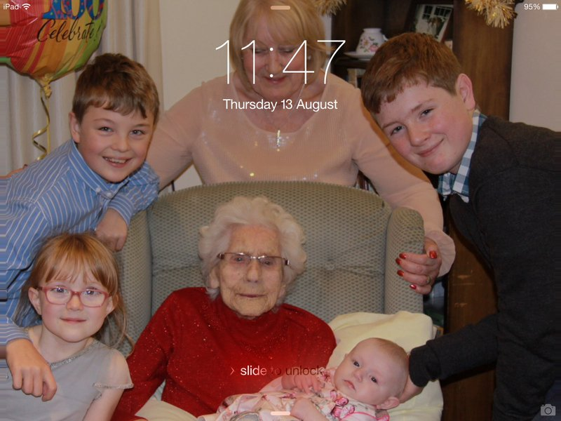 Nana lil with great grandchildren on her 100th birthday