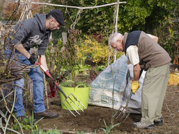 Gardening at Earthworks, an outdoor grief therapy project for men