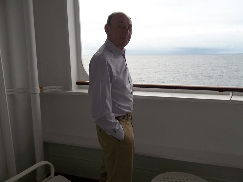 On QM2 enroute to New York celebrating our wedding anniversary.