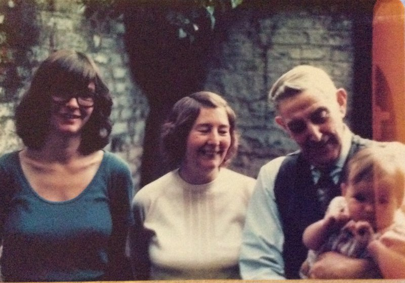 In 1977 with Jenny, Albert , June's  father and baby Catherine.  In the back yard of 5 Station View Levenshulme. .