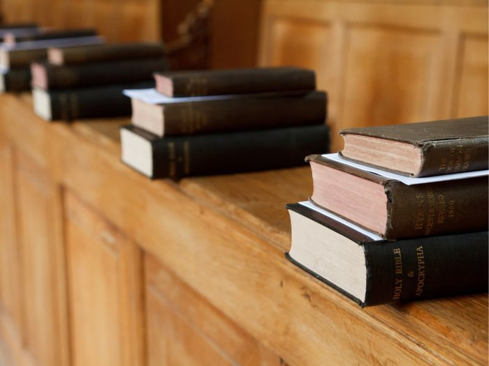 Funeral hymn books in a church