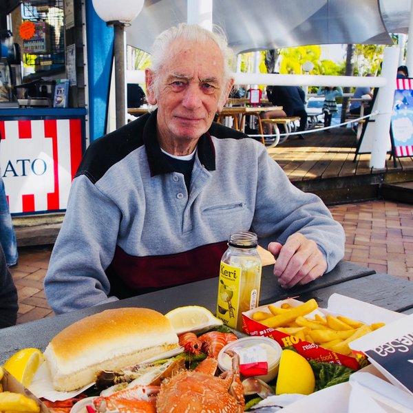 Dad enjoying Fish and Chips at Scarborough, June 2018.