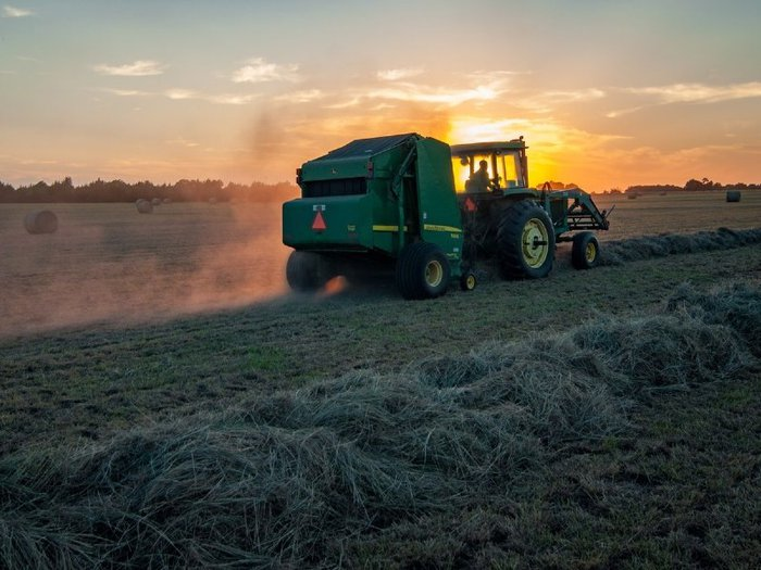 Photo of tractor making hay bales in a field at sunrise
