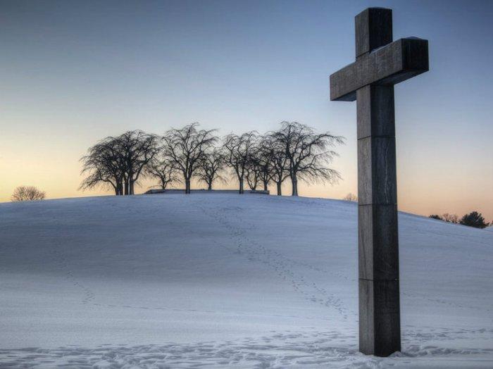 Skogskyrkogården cemetery in Stockholm, Sweden, on a winter's day