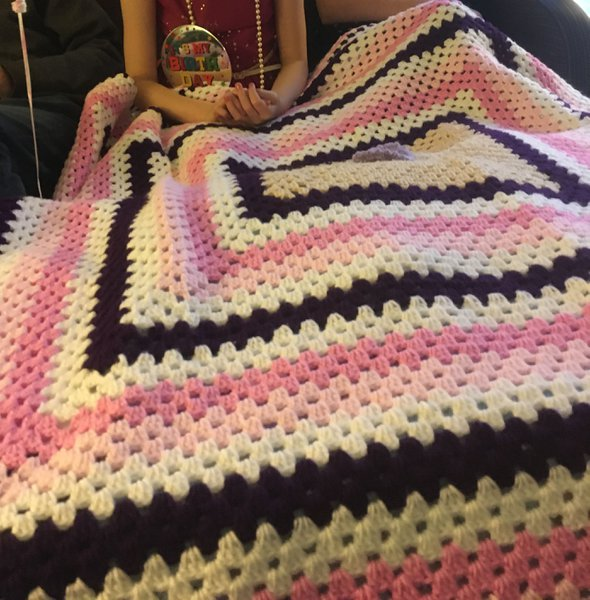Emily's blanket, one of Kay's beautiful patterns last year.