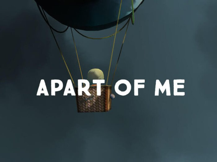 Title screen of Apart of Me, showing the player flying through a stormy sky in a hot air balloon
