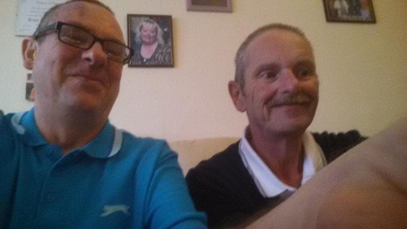 Dave and I enjoying some cakes and a laugh at my home.  Rest in peace cousin, Stand Easy, Duty Done.   xx