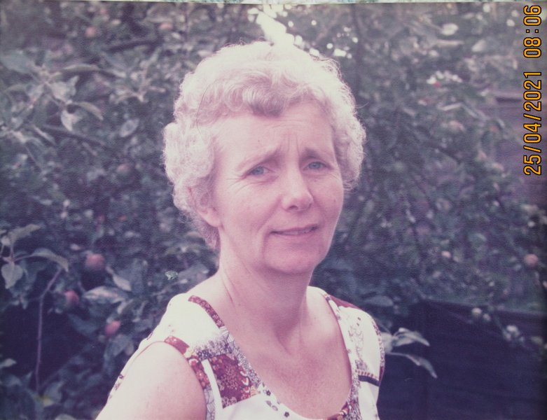 Mum in 1978 the year I was married standing in the garden of my future wife Lorna