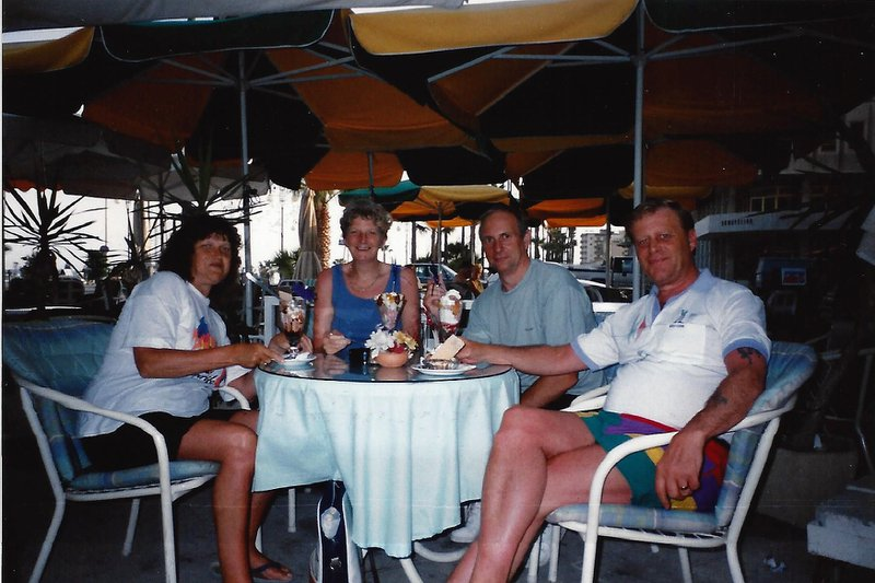 hilary and John, with the late Kathleen and Barry Wood. Happy times on holiday, these 4 loved a holiday. Happy memories may you rest in peace Hilary. Lovely lady X