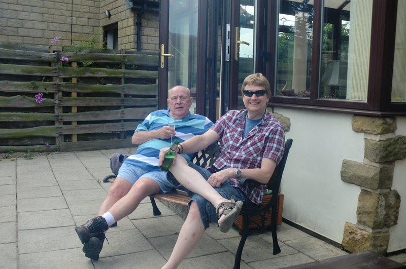 Uncle Dave and Grandad enjoying the sun, and most likely  a beer for Grandads birthday <3