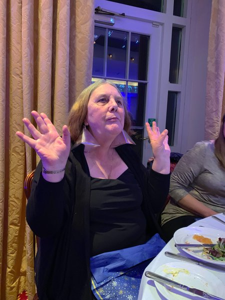 Helene at one of the B&Q Christmas parties x