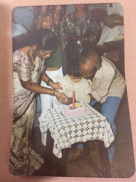 Diana's first birthday with Elizabeth Aunty / Mom / Dad / Savio - 27th March 1987