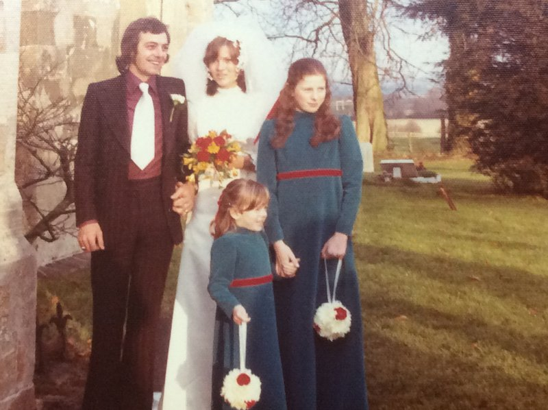 A cold December 1973 day - long hair and wide tie! My nieces Carolyn and Annabel  were bridesmaids.