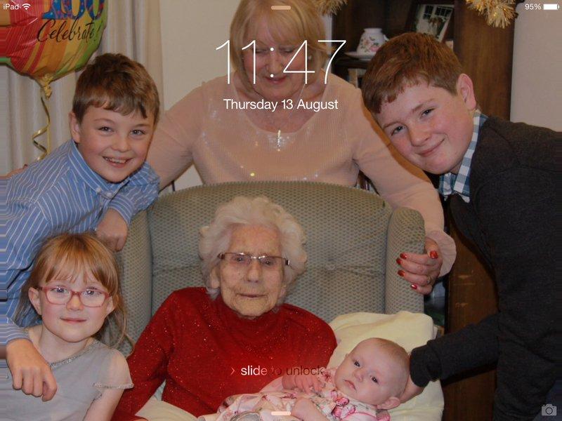 Nana with her great grandchildren on her 100th birthday