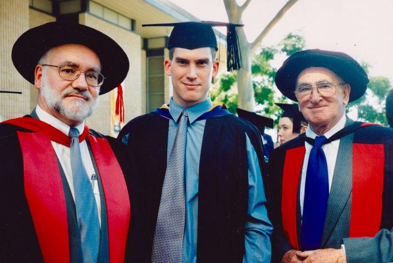 Colin, Nick & Bruce at Nick's graduation from Flinders University