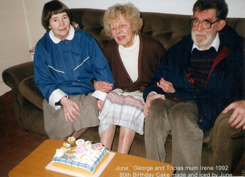 June, with my mum and George and the cake June made for my mum's birthday.