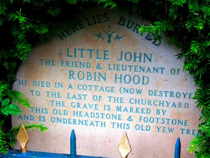 Little John's gravestone in Hathersage, Derbyshire