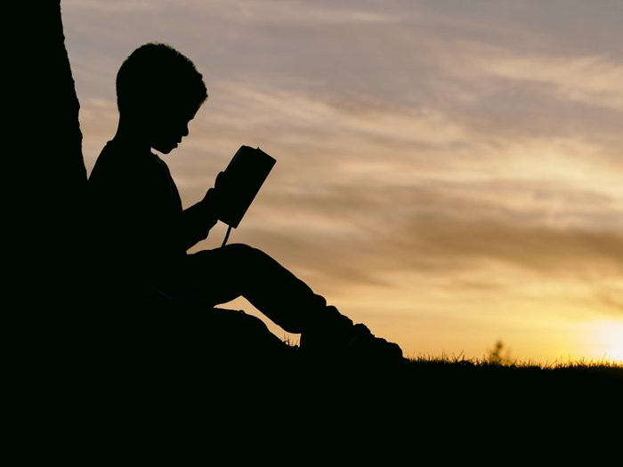 A side-profile of an older child in silhouette at sunset sitting by a tree and reading a book