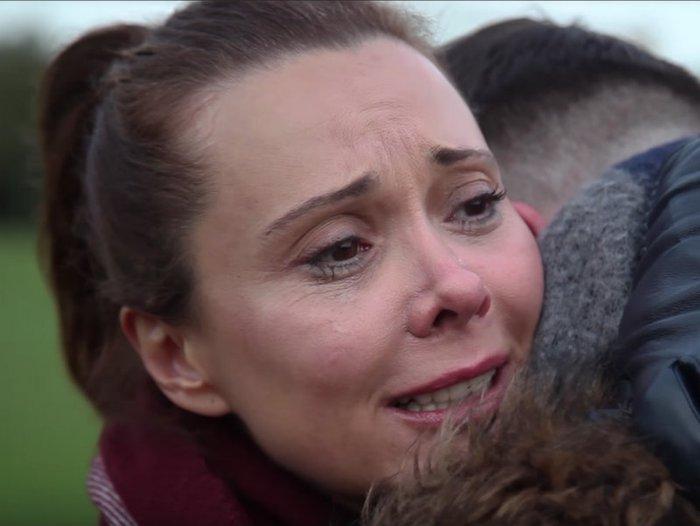 Mum hugging Dad - #FirstChristmas bereavement advert.