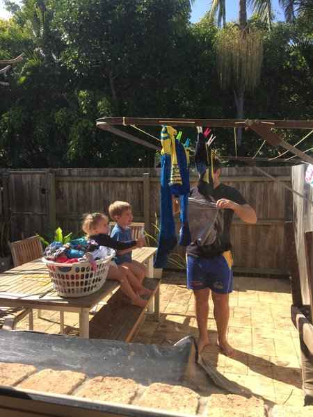 Game Day- as usual Grant left it to the morning of to wash his footy gear. It just so happens that on this morning he had two little helpers chatting away and passing him the pegs. I couldn't help but snap a photo. Their last one together. Beautiful!