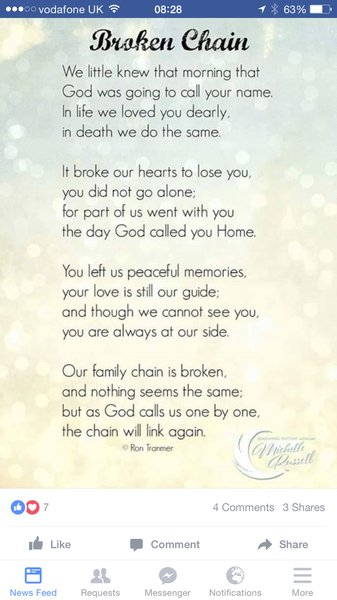 Miss you nan more than ever .. Hope your well up there .. It's not getting any easier love you dearly xxxxx Vicki xxxx