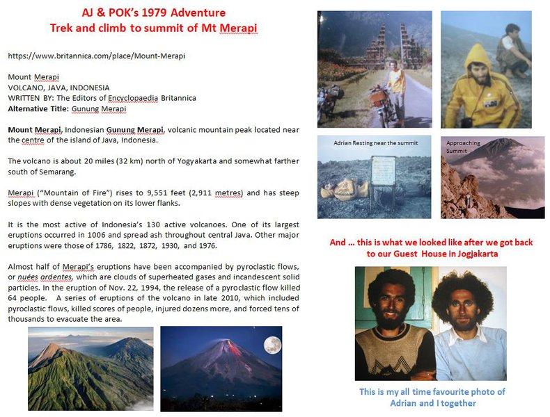 AJ & POK's 1979 Adventure Trek and climb to summit of Mt Merapi