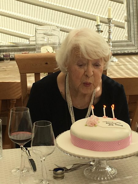 This was Mum on her 90th birthday - elegant as ever!